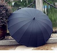 Зонт полуавтомат большой черный 12 спиц