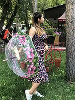 Зонт трость прозрачный с рисунком
