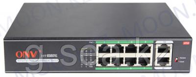 Коммутатор PoE 8-портовый ONV-H1108PL long distance  8 портов 10/100Mbps PoE802.3at, +2 Uplink порт