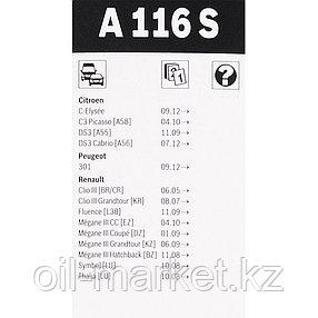 BOSCH К-т щеток стеклоочистителя A116S Bosch Aerotwin Renault Clio all 05>, фото 2