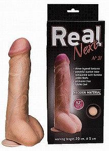 """Фаллоимитатор """"REAL NEXT"""" № 31, на присоске, L 24.0 см, D 4.5 - 5.0 см, киберкожа"""