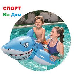 """Надувная игрушка-наездник """"Большая белая акула"""" с ручками Bestwey 41032 (183 х 102см)"""