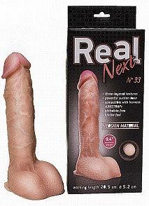 """Фаллоимитатор """"REAL NEXT"""" № 33 на присоске, L 24.5 см D 5.2 см, киберкожа"""