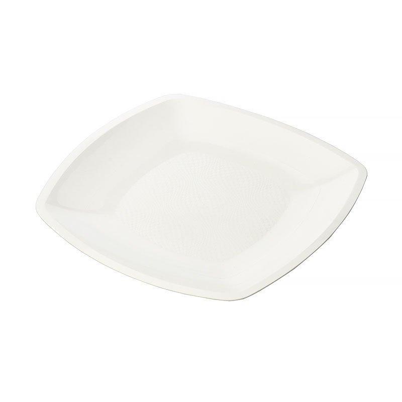 Тарелка квадратная плоская,Белая,180мм,ПП, 6 шт