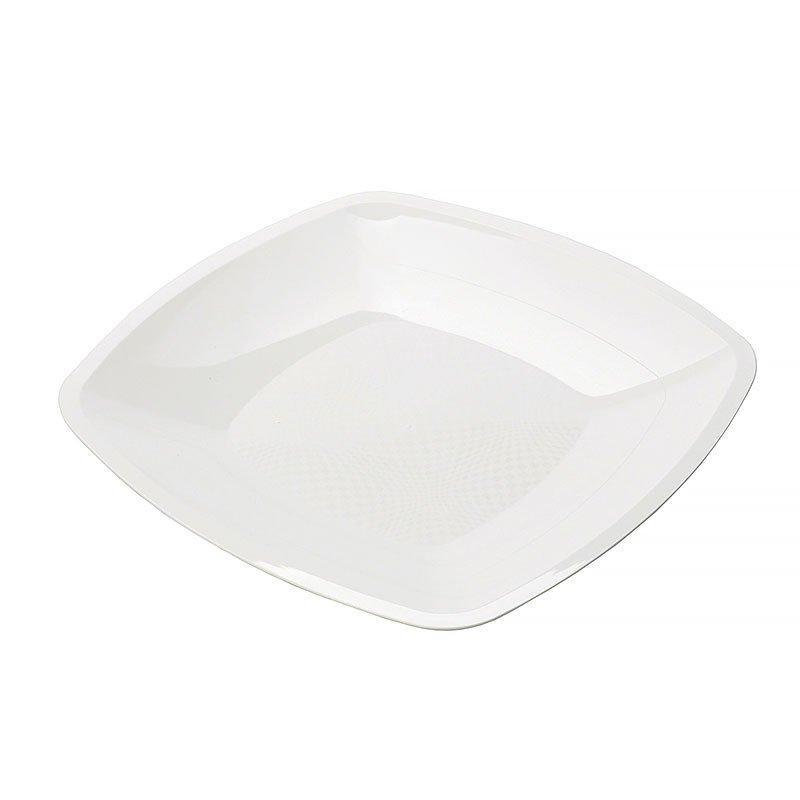 Тарелка квадратная плоская, Белая,230мм, ПП, 6 шт