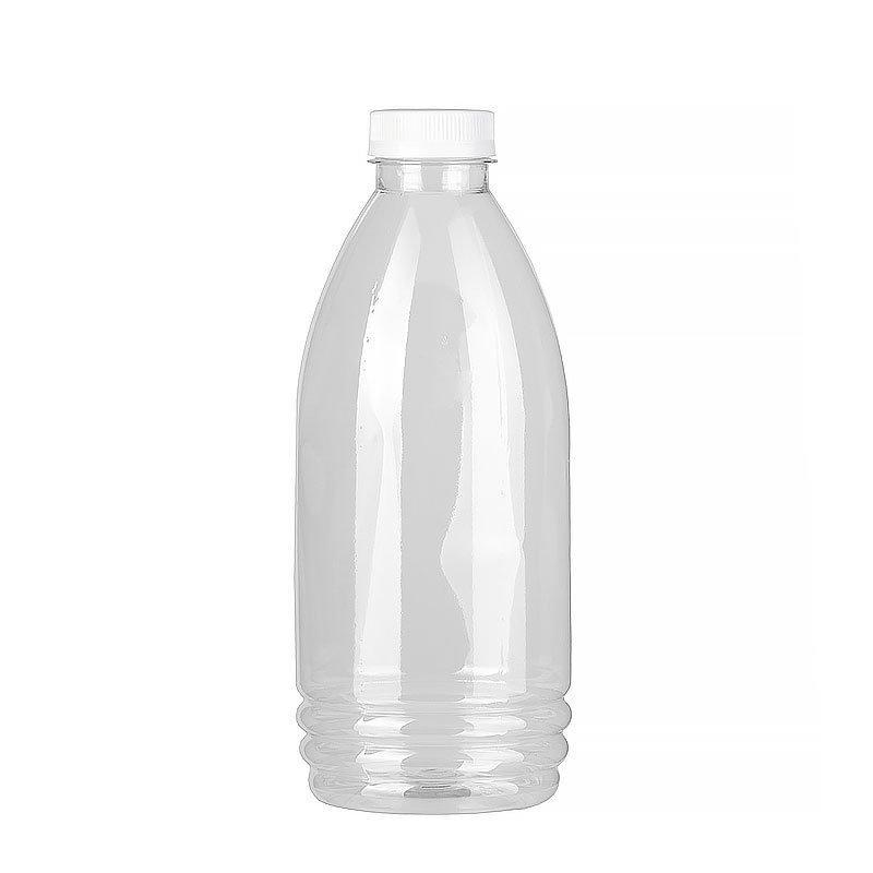 ПЭТ бутылка прозрачн., 1 л, h 223 мм, с крышкой, широкое горло, 70 шт