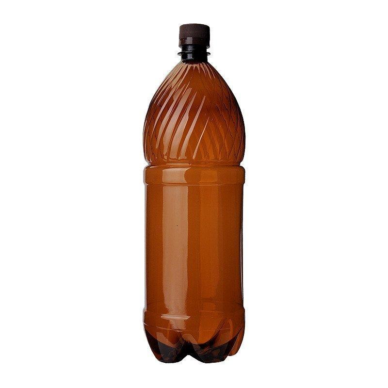 ПЭТ бутылка, коричн., 1 л, h 277 мм,  d 78 мм,  с крышкой, 60 шт