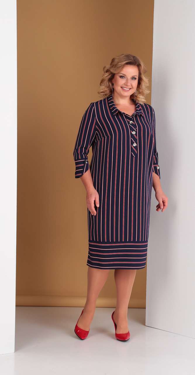 Платье Novella Sharm-3322-3, сине-красные полоски, 58