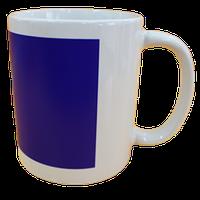 Кружка керамическая белая (Синий хамелеон прямоугольник)