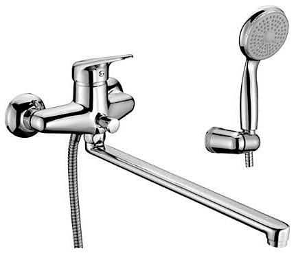 Смеситель Lemark Luna LM4101C для ванны и душа универсальный с длинным плоским изливом