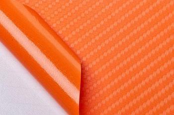 """Виниловая пленка 3D под """"Карбон"""" оранжевый 1,52 м."""
