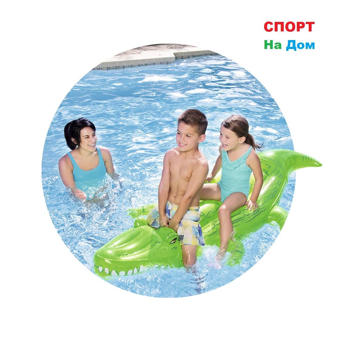 """Надувная игрушка-наездник """"Добрый крокодил"""" с ручками Bestwey 41011 (203 х 117см)"""