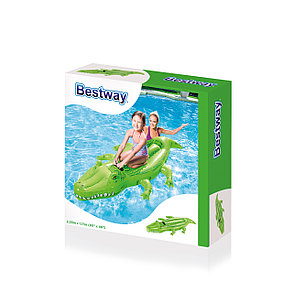 """Надувная игрушка-наездник """"Добрый крокодил"""" с ручками Bestwey 41011 (203 х 117см) , фото 2"""