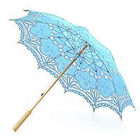 Кружевной зонт голубой, фото 1