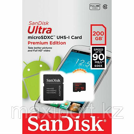 Micro SDXC  Sandisk ultra 200GB  90MB/S  UHS-1 10 CLASS, фото 2