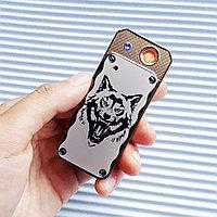 Зажигалка USB LIGHTER с волком в подарочной коробке, серебристая., фото 1