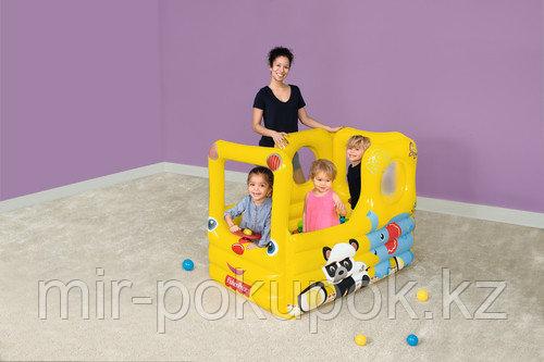 Надувной игровой центр Bestway 93506 «Школьный автобус» с шариками 20 шт (детский надувной бассейн)