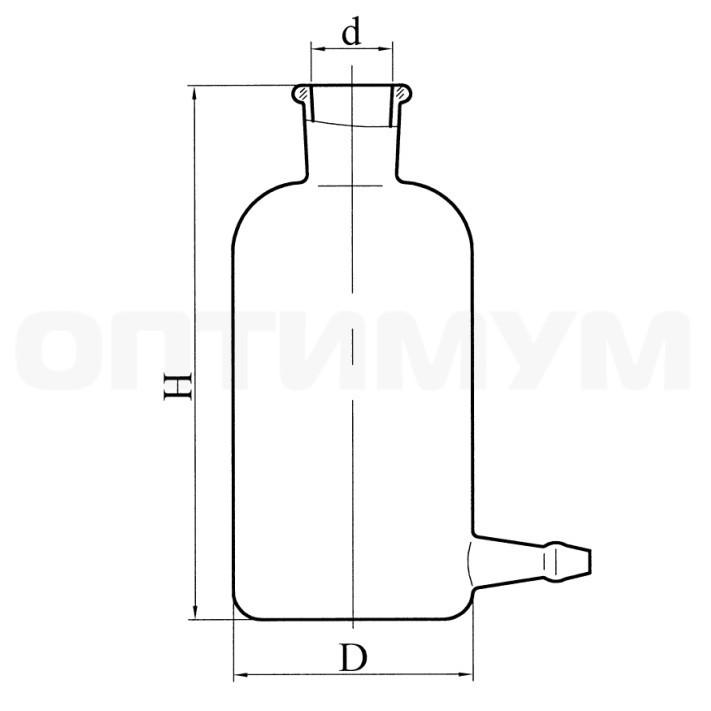 Склянка 0,5 л с тубусом под рез.трубку (исп.3)