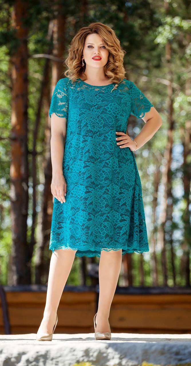 Платье TEZA-216/1, бирюза, 50