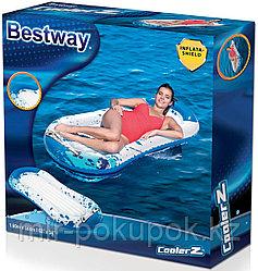 Bestway 43156, пляжный надувной детский матрас для плавания  160 х 86 см, бело-голубой  (плотик)