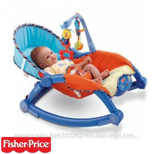 Шезлонг- кресло-качалка Fisher Price(синий)