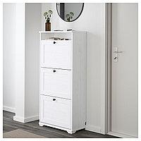 Галошница БРУСАЛИ 3 отделения, белый ИКЕА, IKEA, фото 1