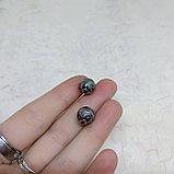 Бусина круглая с родиевым покрытием, 9мм, фото 2