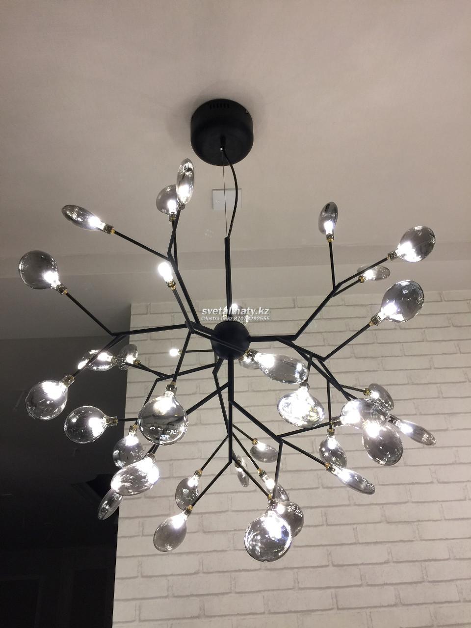 Люстра потолочная на 36 ламп с тонированным стеклом