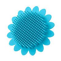 Губка для тела силиконовая (подсолнух). Цвет: голубой