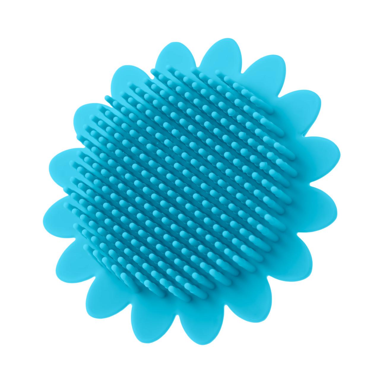 Губка для тела силиконовая (подсолнух). Цвет: голубой - фото 1