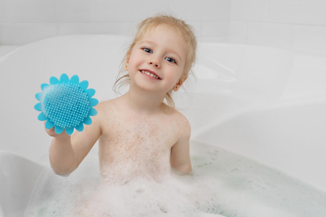 Губка для тела силиконовая (подсолнух). Цвет: голубой - фото 7