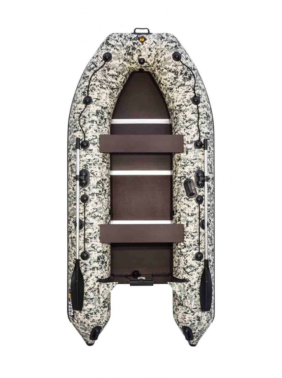 Лодка надувная моторно-гребная килевая Ривьера Компакт 3400 СК, Грузоподъемность: 550кг, Вместимость: 3 чел.,