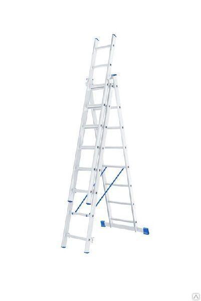 Лестница алюминиевая, трехсекционная,3х10 ступеней/ СИБРТЕХ