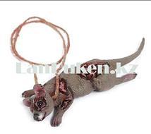 Крыса на веревке муляж 24 см Декорация для хэллоуина