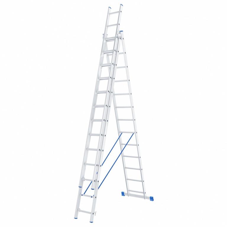 Лестница алюминиевая, трехсекционная,3х13 ступеней/ СИБРТЕХ