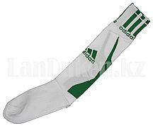 Футбольные гетры спортивные белые с зеленой надписью