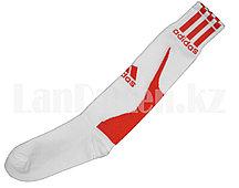 Футбольные гетры спортивные белые с красной надписью