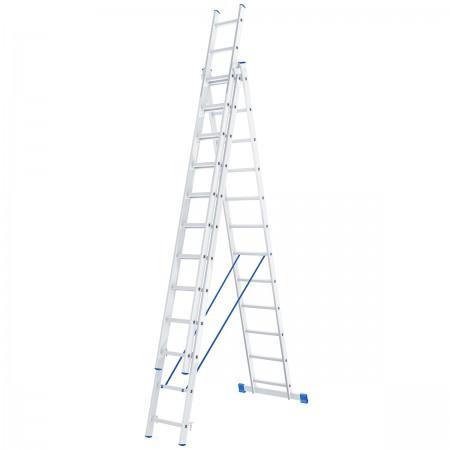 Лестница алюминиевая, трехсекционная,3х12 ступеней/ СИБРТЕХ