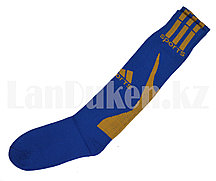 Футбольные гетры Sports синие с оранжевой надписью