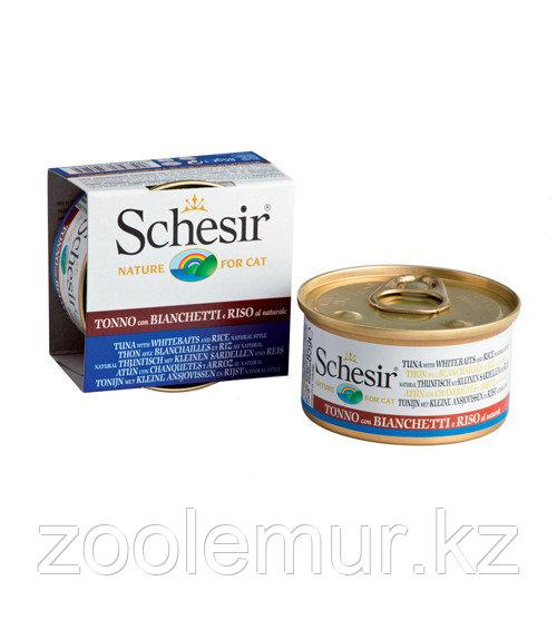 Schesir консервы для кошек (с тунцом в собственном соку со снетками) 85 гр.