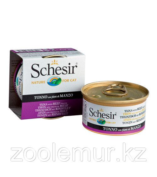 Schesir консервы для кошек (с тунцом и говядиной) 85 гр.