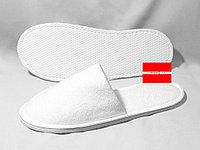 Тапочки махровые-Бизнес белые с закрытым мысом 8мм