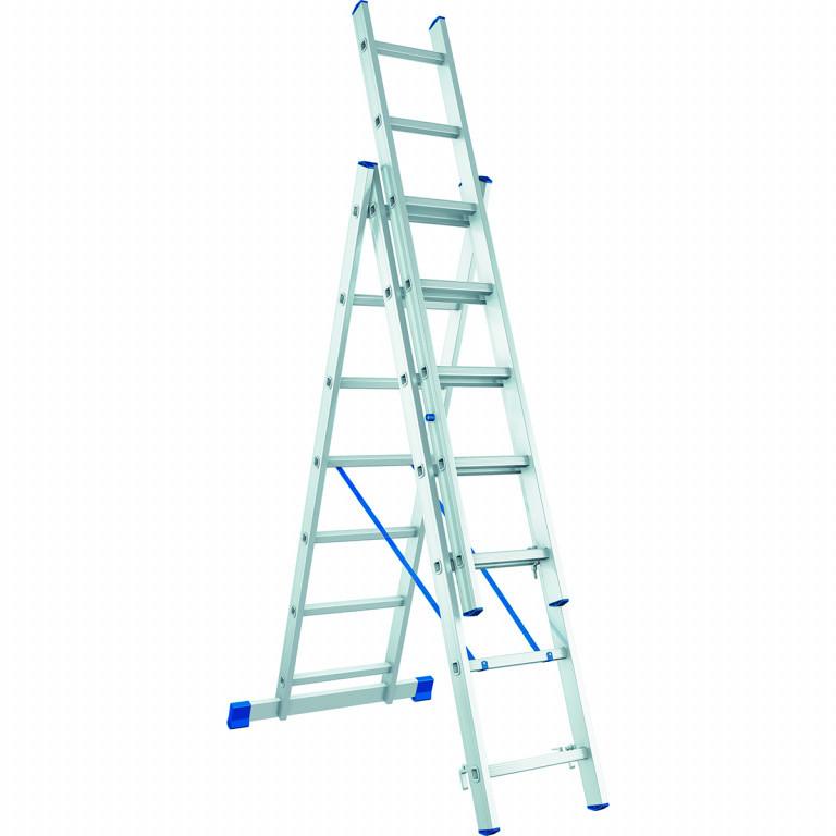 Лестница алюминиевая, трехсекционная,3х9 ступеней/ СИБРТЕХ