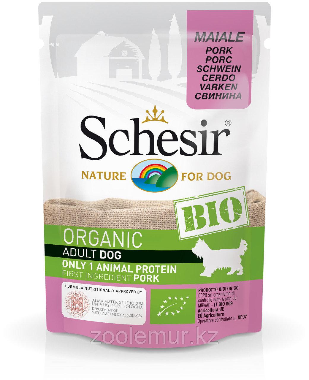 Schesir Bio консервы для собак, свинина 85г
