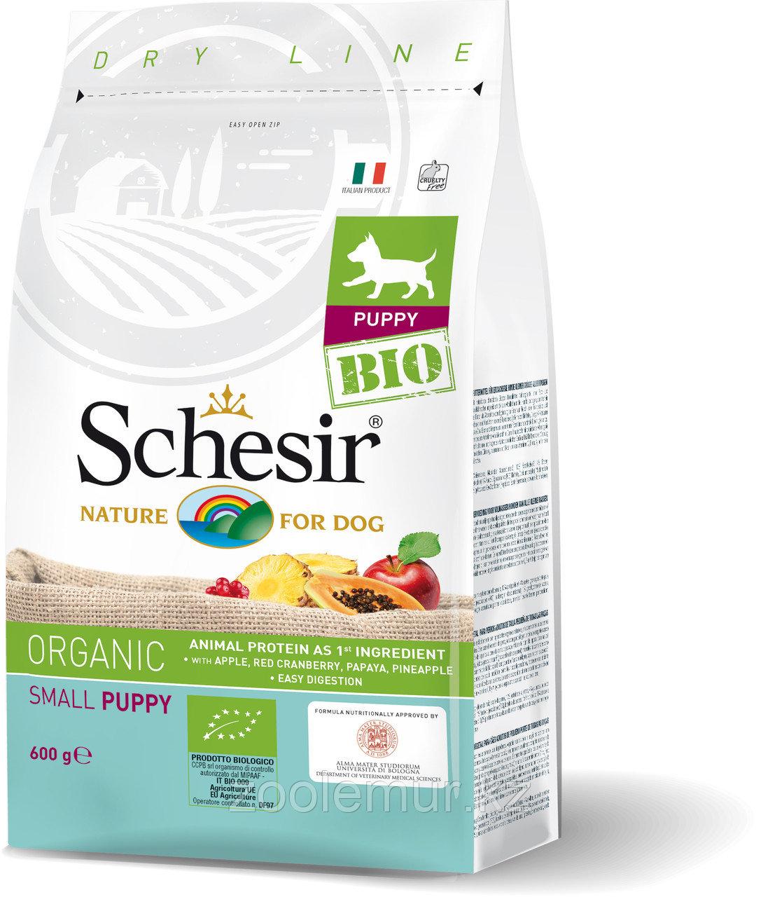 Schesir Bio сухой корм для щенков мелких пород, домашняя птица 600г