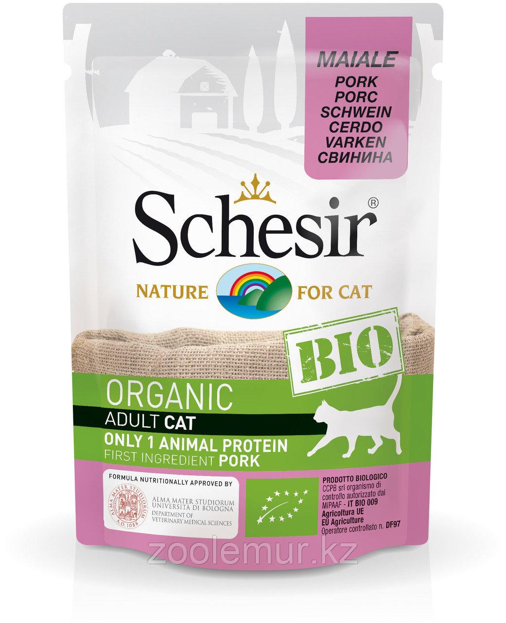 Schesir Bio консервы для кошек, свинина 85г