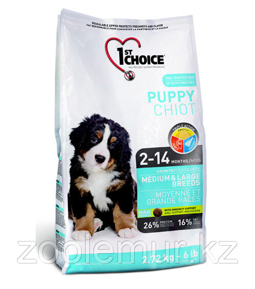 1st Choice Puppy сухой корм для щенков средних и крупных пород (с курицей) 15 кг.