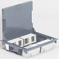 Напольная коробка, горизонтальная, 16 модулей, крышка под ковровое/паркетное покрытие, цвет серый, фото 1