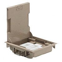 Напольная коробка, горизонтальная, 24 модуля, крышка под ковровое/паркетное покрытие, цвет бежевый, фото 1