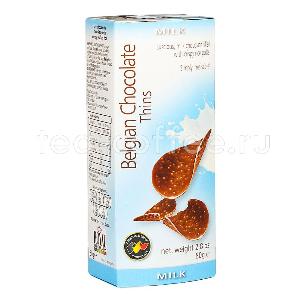 Шоколадные чипсы Belgian Chocolate Thins Милк 80 гр